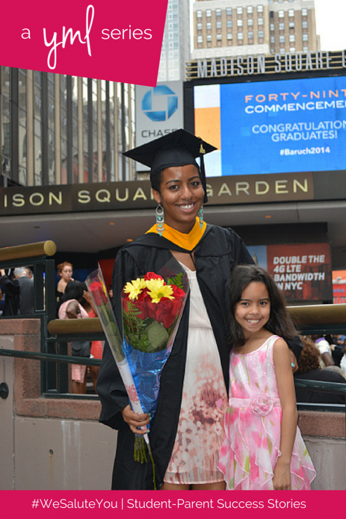 Gloria Malone, mother of one, is a recent graduate of Baruch College of New York | See more student-parent success stories at TheYoungMommyLife.com