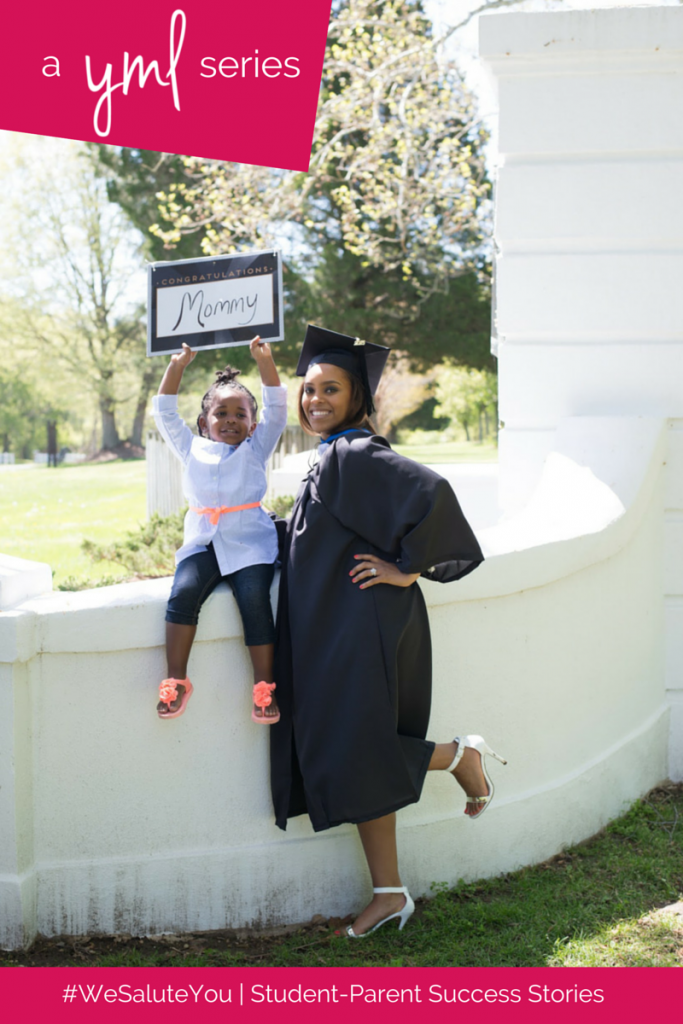 Jamila Williams, mother of one, is a recent graduate of Marymount University | See more student-parent success stories at TheYoungMommyLife.com