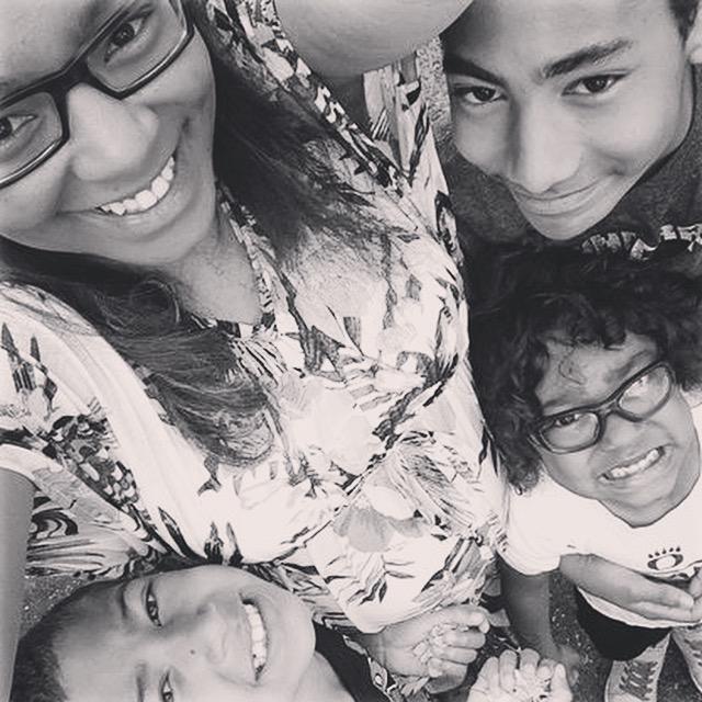 "Amanda Rodriguez, creator of DudeMom.com with her three ""Dudes"""